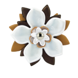 Reflector Brooch Brown/White