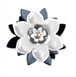 Reflector Brooch White/black